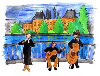 Jazz Trio On Pont Ile Saint Louis Poster