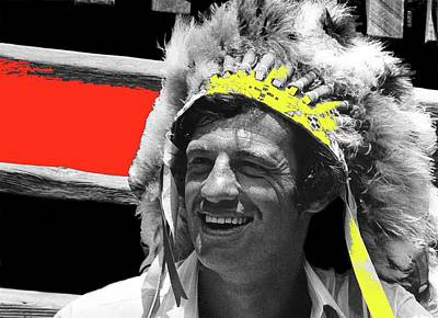 Jean Paul Belmondo In Phony Native American Headdress Poster by David Lee Guss