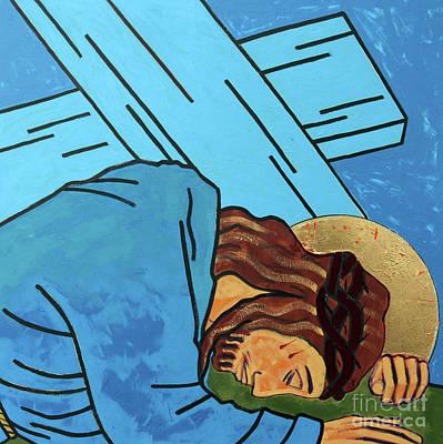 Jesus Falls Poster by Sara Hayward
