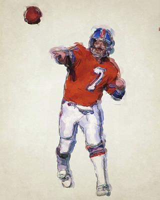 John Elway Denver Broncos Art Poster by Joe Hamilton