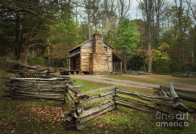 John Oliver Cabin Cades Cove Poster by Lena Auxier