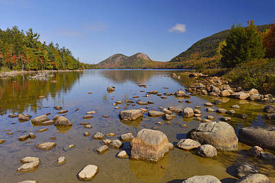 Poster featuring the photograph Jordan Pond In Autumn by Stephen  Vecchiotti