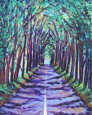 Poster featuring the painting Kauai Tree Tunnel by Marionette Taboniar