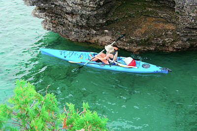 Kayaking At Cave Point County Park Poster