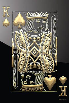 King Of Spades In Gold On Black   Poster