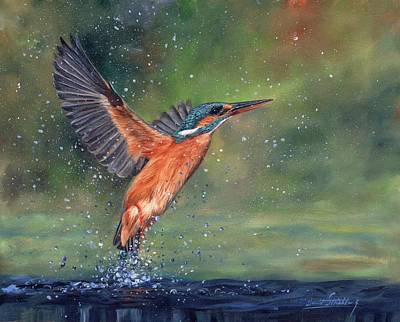 Poster featuring the painting Kingfisher by David Stribbling