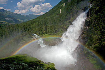 Krimml Waterfall And Rainbow Poster
