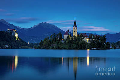 Poster featuring the photograph Lake Bled Twilight by Brian Jannsen