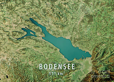 Lake Constance 3d Render Satellite View Topographic Map Poster