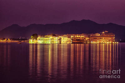 Poster featuring the photograph Lake Palace Night Scenery by Yew Kwang