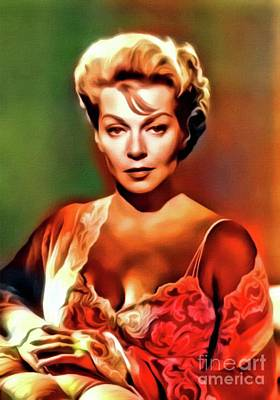 Lana Turner, Vintage Actress. Digital Art By Mb Poster by Mary Bassett