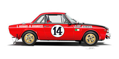 Lancia Fulvia Hf Illustration Poster by Alain Jamar