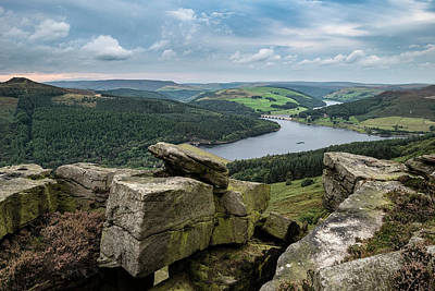 Landscape View From Bamford Edge In Peak District Towards Ladybo Poster