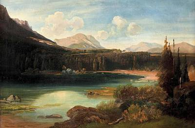 Landscape With Lake Poster by Josef Mayburger