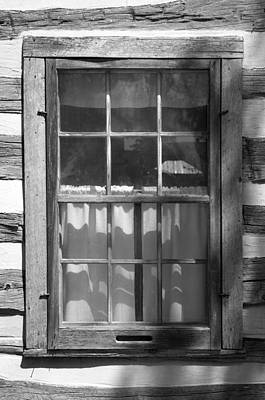 Lattice Window On Log Cabin Poster