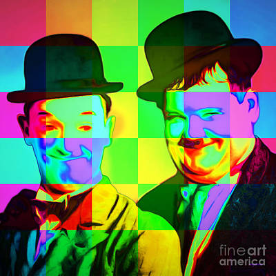 Laurel And Hardy 20160102 Colorsquares Square Poster by Wingsdomain Art and Photography