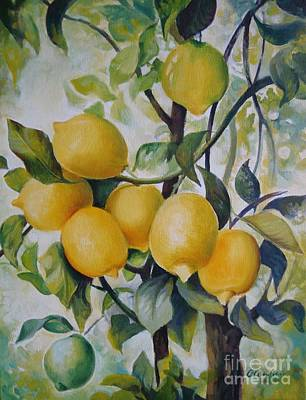 Poster featuring the painting Lemons by Elena Oleniuc