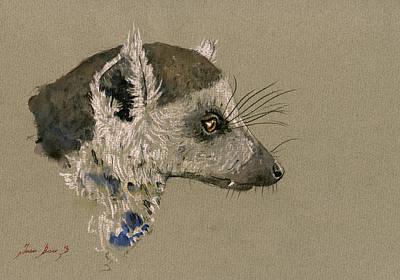 Lemur Head Study Poster by Juan  Bosco