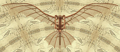 Leonardo Da Vinci Antique Flying Machine Under Parchment Poster by Nenad Cerovic