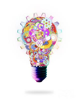 Light Bulb Design By Cogs And Gears  Poster by Setsiri Silapasuwanchai