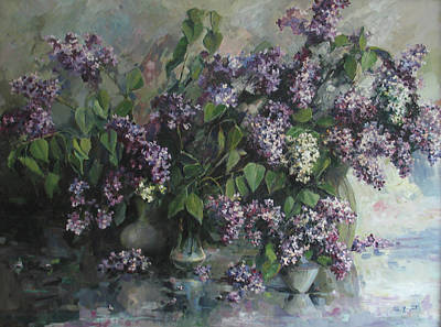 Poster featuring the painting Lilacs by Tigran Ghulyan