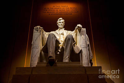 Lincoln Memorial At Night - Washington D.c. Poster by Gary Whitton