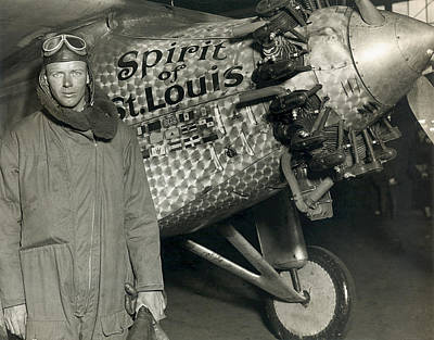 Lindbergh With His Airplane, 1928 Poster by Detlev Van Ravenswaay