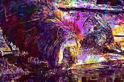 Poster featuring the digital art Lion Cat Zoo Male Big Cat Africa  by PixBreak Art