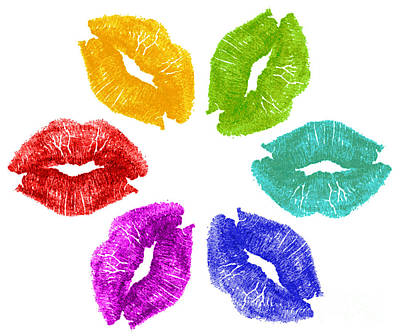 Lipstick Kisses In Color Poster by Blink Images