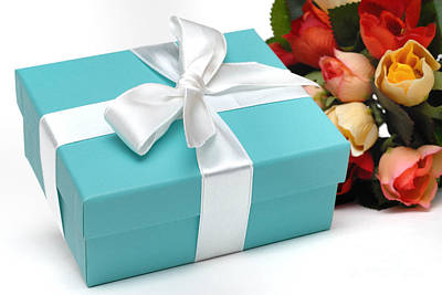 Little Blue Gift Box And Flowers Poster