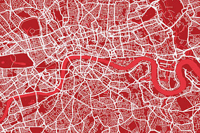 London Map Art Red Poster by Michael Tompsett