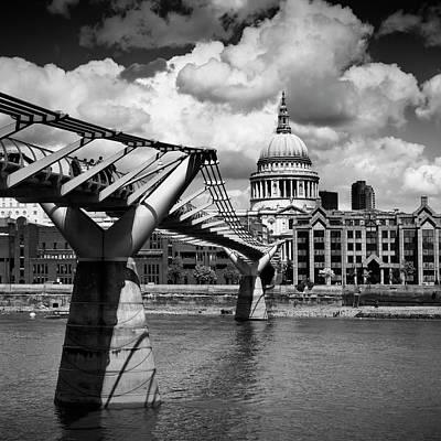 London Millennium Bridge And St Paul's Cathedral - Monochrome Poster by Melanie Viola