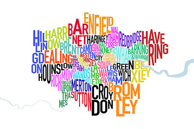 London Uk Text Map Poster by Michael Tompsett