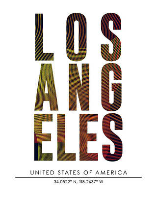 Los Angeles City Print With Coordinates Poster