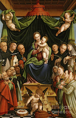 Madonna And Child Enthroned With Saints And Donors Poster