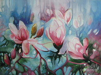 Poster featuring the painting Magnolia by Elena Oleniuc