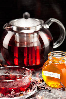Mallow Tea In Glass Cup With Honey Poster