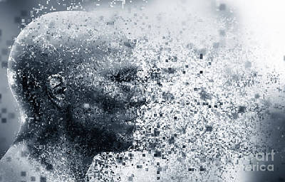 Man Face With Pixel Dispersion Effect. Concept Of Technology, Modern Science But Also Disintegration Poster by Michal Bednarek