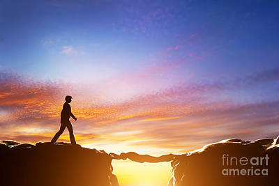 Man Walking Over Precipice Between Mountains And Another Man Being A Bridge Poster