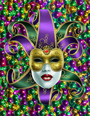 Mardi Gras Mask And Beads Poster