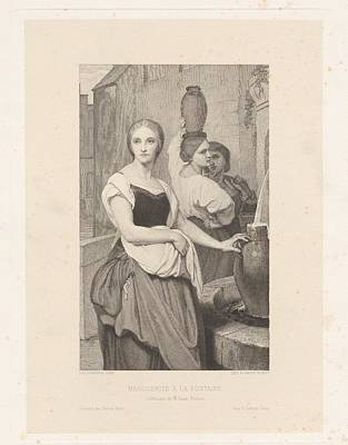 Marguerite At The Fountain Poster