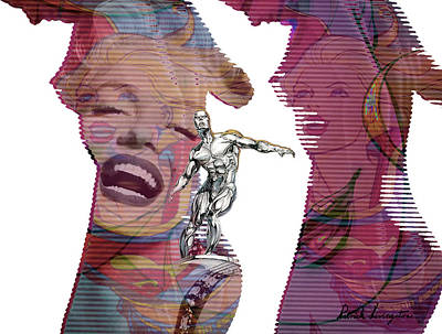 Marilyn Superwoman Silver Surfer Desaturated Poster