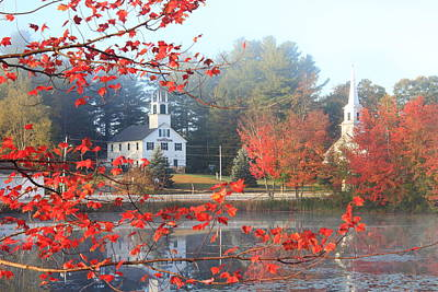 Marlow New Hampshire Early Autumn Fog Poster by John Burk