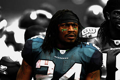 Marshawn Lynch Give Me The Ball Poster by Brian Reaves