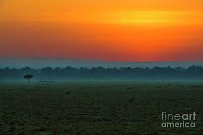 Poster featuring the photograph Masai Mara Sunrise by Karen Lewis