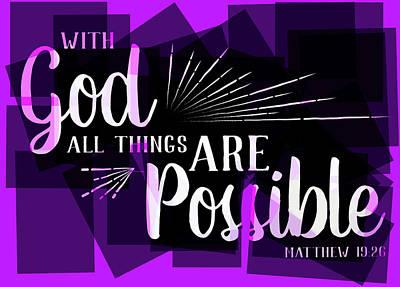Hisworks Godart 2 Matthew 19 26 The Truth Bible Art Poster by Reid Callaway