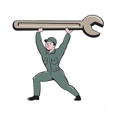 Mechanic Lifting Spanner Wrench Cartoon Poster by Aloysius Patrimonio