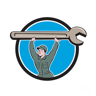 Mechanic Lifting Spanner Wrench Circle Cartoon Poster by Aloysius Patrimonio