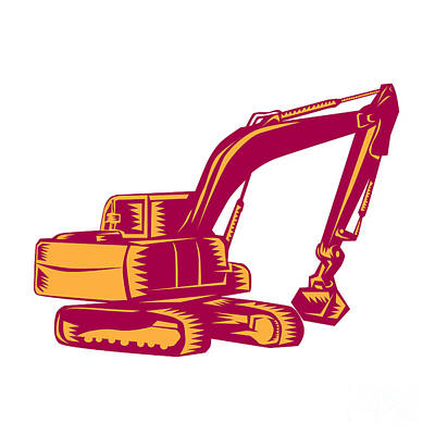 Mechanical Digger Excavator Woodcut Poster by Aloysius Patrimonio