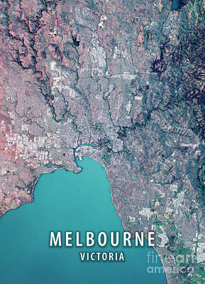Melbourne 3d Render Satellite View Topographic Map Poster
